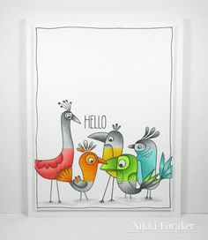 Hello card by Nikki Foraker ...half b/w half rainbow