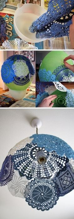 "This one is for Denise;) ""DIY lace lampshade- Starch or glue mix over doilies placed on balloon, let dry, pop ballon."", ""DIY Lace Lampshade - Would love Lace Lampshade, Doily Lamp, Crochet Lampshade, Crafts To Do, Arts And Crafts, Diy Y Manualidades, Diy Papier, Diy Art, Diy Home Decor"