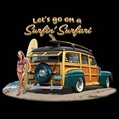 1951 Woody Station Wagon And Surf Board Art by Brent Gill  T SHIRT M TO 4XL