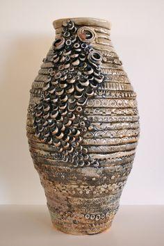 Coil ceramic vase with embellishments Carly Hollabaugh Monday, September 2013 Ceramics (C) Slab Pottery, Ceramic Pottery, Pottery Art, Ceramic Clay, Ceramic Vase, Vases, Sculpture Lessons, Coil Pots, Ceramic Texture
