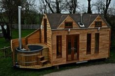 Awesome Tiny Cabin on Trailer with Outdoor Hot Tub Built In. Possible DIY Project | Homesteading | Off Grid | Tiny Home