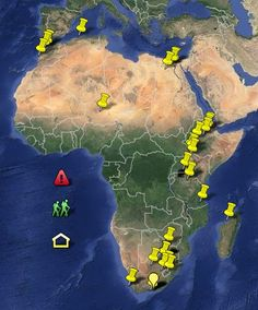 African Fossil Sites: A Paleontology Primer in a Google Map.   This documentary, in the form of a Google Map, tracks the African fossil site locations known for the presence of human or animal fossils, or both.  Some of the locations, like the one's in South Africa, are so close that unless you zoom in close they look like one site, yet are considered the Cradle of Humankind by the World Heritage Foundation.  http://myreadingmapped.blogspot.com/2013/11/african-fossil-sites-paleontology.html