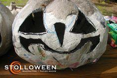 Paper mache pumpkin - good tutorial. Uses tradition paper mache and paper mache clay.