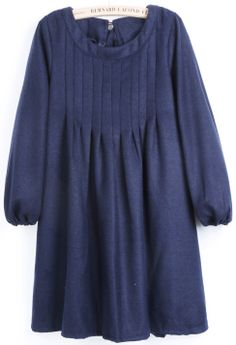 Blue Puff Sleeve Bow Pleated Dress EUR€25.04