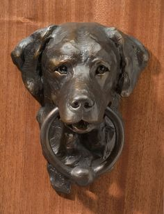 "Daniel Glanz ""Lab Doorknocker"" 12"" x 14""  x 5"" Bronze Edition of 30"