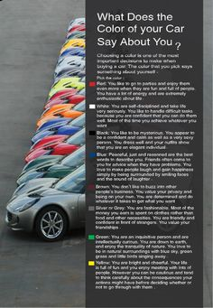 Car Color Meaning by Dina Tarek, via Behance, not sure this fits anyone i can think of