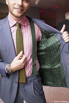 green boxcloth braces