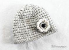 Mary mani creative-berretto in lana all'uncinetto tunisino