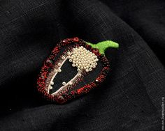 """Броши ручной работы. Черная льняная брошь с ручной вышивкой """"Перец"""". Monologia N. /Наталья/. Ярмарка Мастеров. Бохо брошь"""