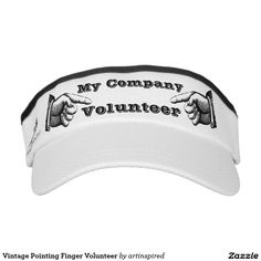 Vintage Pointing Finger Volunteer Headsweats Visors Change text to match your event, fundraiser or other personalized message.