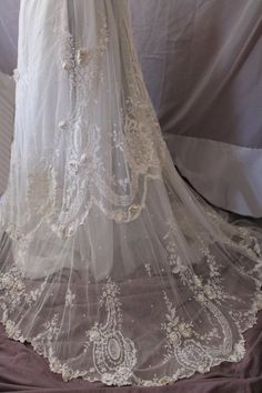 Stunning Rare Antique Irish Tambour Lace Edwardian Long Skirt Circa 1880-1910   Available ~ View it at http://www.chantillydreams.com/Stunning-Rare-Antique-Irish-Tambour-Lace-Edwardian-Long-Skirt-Circa-1880-1910_p_1051.html