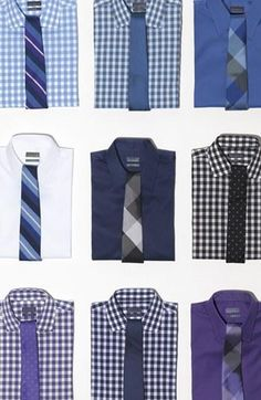 Shirt & tie combinations.