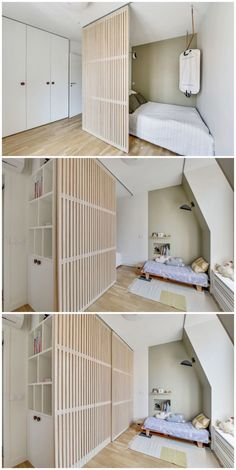 Visite déco : vivre en famille dans un - Clem Around The Corner - Recipes Diy Furniture Couch, Space Saving Furniture, Diy Furniture Projects, Building Furniture, Reuse Furniture, Room Partition Designs, Bedroom Orange, Room Decor Bedroom, Bedroom Rustic