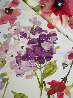 """HGTV HOME Fabric Color Study Berry.  HGTV Home fabric from HGTV Community Collection. !00% cotton fine line twill floral print. Multi purpose for any home décor fabric project. V 25.25"""" - H 27"""" up the roll repeat. 54"""" wide."""