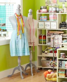 Ideas for organizing your sewing/crafting space: use shelving and bins/containers to keep small tools and notions in check.