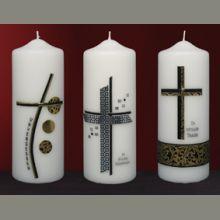 Pillar Candles, Funeral, Crosses, Christening, Crafts, Design, Rustic Wedding Invitations, Candles, Xmas