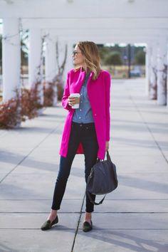 Fuschia pink Boyfriend Coat