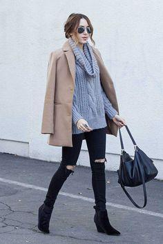 look maxi tricot e casaco caramelo