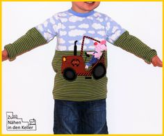 Shirt Pullover Pulli eaSy Leni Pepunkt John Piglet Pig on Tractor Application Design by krakracraft appliziert von Zum Nähen in den Keller Applikation application applizieren Traktor Schwein Ferkel toll für Jungs