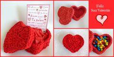 Caja de trapillo para San Valentín/crochet heart box sigue el tutoría en www.mondayscrochet.wordpress.com Labor, Crochet Necklace, Diy, Wordpress, Saints, Happy, Te Quiero, Felt Letters, Heart Shapes