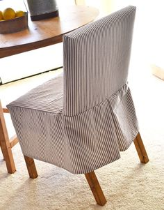 site with lots of DIY ! - Easiest Parson Chair Slipcovers