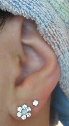 Lobe Ear Piercing Ideas at MyBodiArt.com - Star Opal and Crystal 16G Earring for Helix, Tragus, Lobe, Cartilage, Conch