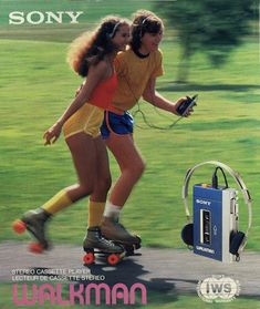 Sony Walkman ad for the Stereo cassette player, Source Roller Disco, Roller Derby, Roller Skating, Retro Advertising, Vintage Advertisements, Vintage Ads, Retro Ads, Estilo Taylor Swift, Skate Style