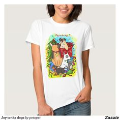 Joy to the dogs t shirt. A cute cartoon drawing of dogs playing with Christmas ornaments. There are German shepherd dog, bull terrier dog, doberman pinscher puppy, poodle dog and a pug dog. #dogcartoon #cutepuppy #Christmasdogs #Christmaspuppy #germanshepherddog #bullterrierdog #dobermanpinscherdog #poodledog #pugdog #funnydogs