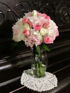 Wedding bouquet of pink hydrangea, white roses, and pink spray roses
