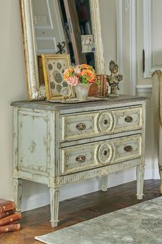 Flemish Commode - Swedish Grey Bedside Table, Distressed Grey Bedside Table | Soft Surroundings