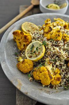 roasted cauliflower lemon thyme quinoa