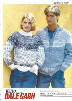 Setesdal rundfelling 2389 Vintage Knitting, Hand Knitting, Knitting Designs, Knitting Patterns, Etnic Pattern, Sweater Cardigan, Men Sweater, Fair Isle Pattern, Blue And White