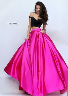 Sherri Hill 50194 Vibrant Off The Shoulder Black and Pink 2 PC Ball Gown: