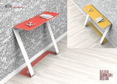 Neema is a console obtained from a single, cut and folded, sheet of metal. I propose it in solid color and bicolor.