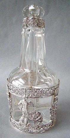 Leather And Silver Bracelet Mens Antique Glassware, Antique Perfume Bottles, Vintage Bottles, Vintage Silver, Antique Silver, Hildesheimer Rose, Argent Antique, Crystal Decanter, Rare Antique