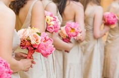 bridesmaid idea with softer shades of pink in the bouquets...