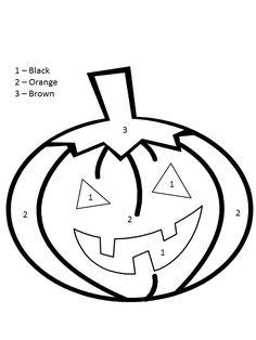 Coloring Pages For Kindergarten Halloween - Coloring Page Halloween Color By Number, Theme Halloween, Halloween Pumpkins, Halloween Crafts, Pumpkin Coloring Pages, Halloween Coloring Pages, Math Coloring Worksheets, Preschool Worksheets, Number Worksheets