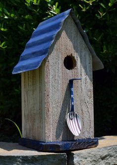 Rustic Birdhouse - Rustic Red White and Blue Birdhouse - Spoon Birdhouse - Patriotic Birdhouse via Etsy