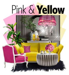 """""""Pink & Yellow :: 010915"""" by irafra ❤ liked on Polyvore featuring interior, interiors, interior design, home, home decor, interior decorating, Williams-Sonoma, Vitra, Diane James and Arte Italica"""