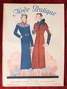 October 1932 French Fashion Cover from Mode Pratique Magazine