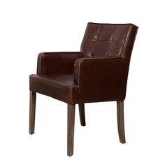 Рабочее кресло из натуральной кожи коричнего цвета, каркас выполнен из дуба.             Метки: Кресла для дома.              Материал: Дерево, Кожа натуральная.              Бренд: Teak House.              Стили: Лофт.              Цвета: Коричневый, Темно-коричневый.