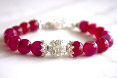 Pink agate bracelet Pink Agate, Jewlery, Handmade Jewelry, Beaded Bracelets, Fashion, Pink, Rhinestones, Velvet, Moda
