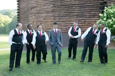 Groom in grey, groomsmen in black vests | Adoniram & Lucy's Brazilian, Red & Gold Wedding at the Lodge at Little Seneca Creek in Maryland | Images: Daysy Photography