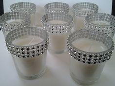 Silver Votive Candle Holder Rhinestone Diamond Crystal Elegant Wedding Bling  Candles Votives 50 Pc Lot. $72.95, via Etsy.