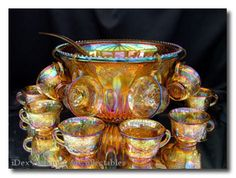 Indiana Glass Company:Harvest Grape Princess Punch Gold Carnival Set, 7 quart punch bowl, 26 piece set: 12 cups, 12 hooks and ladle. Fenton Glassware, Antique Glassware, Carnival Glass, Punch Bowl Set, Indiana Glass, Glass Collection, Glass Ornaments, Glass Art, Antiques