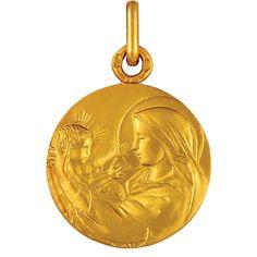 Médaille de bapteme en or, medaille Vierge à l'enfant Nativité
