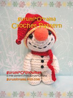 patrón de ganchillo amigurumi muñeco de nieve por gurumiorama