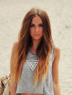 chocolate brown hair with blonde tips