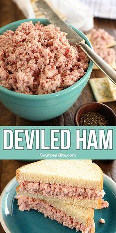 Ham Salad Recipes, Pork Recipes, Appetizer Recipes, Cooking Recipes, Deviled Ham Salad Recipe, Recipies, Dinner Recipes, Appetizers, Tapas