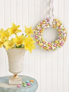 How to make a wreath out of Jordan almonds.